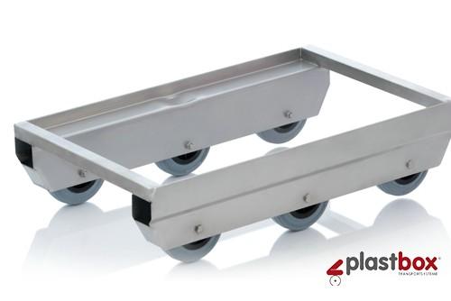 Edelstahl-Transportroller Wippmechanik mit Gummirolle